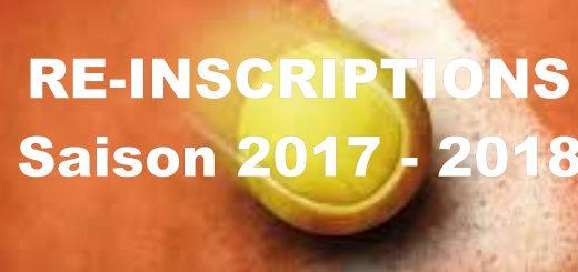 Saison 2017-2018 ré-inscriptions
